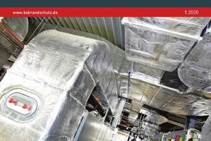 Das Titelbild von BS Brandschutz 1/2020 zeigt die alukaschierte Steinwollematte von Deutsche Rockwool im Einbauzustand.
