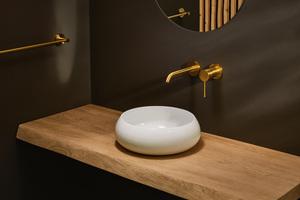"""Die Waschtischschale """"BetteCraft"""" aus glasiertem Titan-Stahl veredelt den Waschplatz mit ihrer feinen Ästhetik.<br />"""
