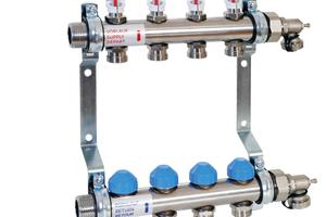 """Der Heizkreisverteiler """"HKV2013A-AFC"""" mit automatischer Durchflussregelung ist ein Rundrohrverteiler aus Edelstahl für zwei bis zwölf Heizkreise."""