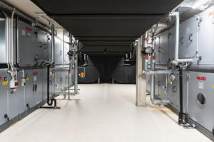 Die Lüftungsanlagen mussten in den Zwischengeschossen mit einer Raumhöhe von bis zu 2,4 m Höhe Platz finden.