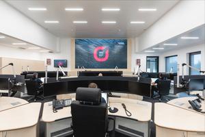 Im Neubau ist auch die Kreisleitstelle für den Rettungsdienst, Brand- und Katastrophenschutz untergebracht.