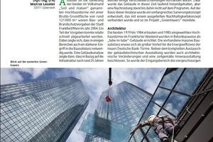 """… oder auffälligen Bürogebäuden, wie den zu """"Greentowers"""" umgebauten Hochhäusern der Deutschen Bank im Jahr 2011."""
