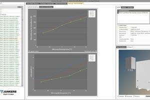 """Leistungsdiagramme und Geometrie der Luft-/Wasser-Wärmepumpe """"Compress 7000i AW 9"""" aus VDI 3805-Funktionen im Katalog-Auswahl-Tool"""