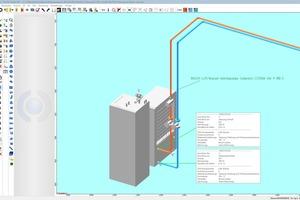 """Heizkreis-Anschluss der Luft-/Wasser-Wärmepumpe """"Compress 7000i AW 9"""" im CAD-Programm """"Rukon"""""""