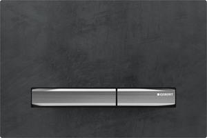 """Die Betätigungsplatte ist die Schnittstelle zwischen der Technik hinter der Wand und dem Nutzer. Es gibt sie in zahlreichen unterschiedlichen Designvarianten und Materialien, hier die """"Sigma50"""" in Mustang Schiefer."""