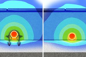 Stand der Technik: Die Rohranhebefunktion des Roth-Original-Tacker-Klips führt zu einer optimalen Energieverteilung im Fußbodenaufbau gegenüber auf der Dämmung liegenden Rohren.