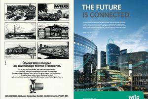 Die rasante Entwicklung in der Pumpentechnik wird bei den beiden Anzeigenmotiven von Wilo deutlich.