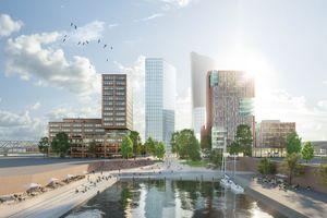 Die entstehende Torsituation am Amerigo-Vespucci-Platz in Hamburg