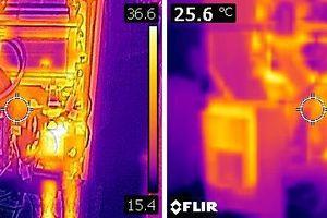 Die Überlagerung von visuellem und IR-Bild verbessert insbesondere bei geringen IR-Auflösungen den Kontrast und die Orientierung im Bild (Gastherme ohne und mit Überlagerung).