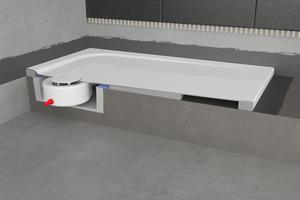 """Mit der System-Installationsbox """"S-IX"""" lassen sich emaillierte Duschflächen schnell und sicher auf dem Estrich montieren.<br />"""