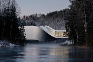 """Mit dem Museumsneubau """"The Twist"""" schuf Bjarke Ingels vom dänischen Architekturstudio BIG, eine elegante, architektonisch faszinierende Erweiterung des Skulpturenparks in Jevnaker."""