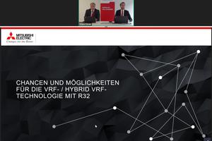 """Mitsubishi Electric berichtete live aus seiner """"Sendezentrale in Ratingen"""" zum Thema """"Chancen und Möglichkeiten für die VRF-/Hybrid-VRF-Technologie mit R32""""."""