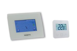 "Raumtemperaturregler ""BT-CT02-RF Wifi"" mit kapazitivem Touchscreen und Funk-Raumthermostat ""BT-D03 RF GT""<br />"