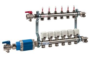 Der dynamische Differenzdruckregler wird zusammen mit Heizkreisverteiler nebst Durchflussmengenmesser installiert. Somit wird die Durchflussmenge in jedem einzelnen Teilheizkreis konstant gehalten.<br />