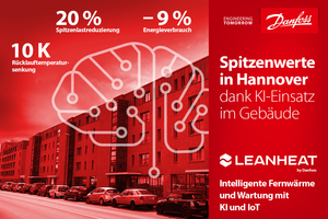 """Die KI-basierte Cloud-Software """"Leanheat"""" by Danfoss passt auf Basis kontinuierlicher Echtzeitmessungen die sekundärseitige Vorlauftemperatur an den tatsächlichen Bedarf an und optimiert dadurch die Energieeffizienz der Fernwärme in Hannover."""