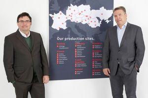 Christian Winter (links) hat zum 1. April 2021 die operative Verantwortung in der Geschäftsführung der Hirsch Porozell GmbH übernommen. Christian Grimm (rechts) begleitet für eine bestimmte Zeit strategische Entscheidungen.