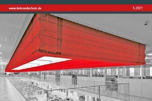 """Das Titelbild der Ausgabe zeigt den Feuerschutzvorhang """"Fibershield-S"""" der Stöbich Brandschutz GmbH."""