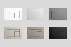 Die Betätigungsplatte ist in sechs aktuellen Trendfarben erhältlich: Bianco Cos (Weiß), Beige Arizona (Greige), Castro Ottawa (Beige-Braun), Grigio Efeso (Steingrau), Grigio Londra (Anthrazit) sowie Nero Ingo (Schwarz).