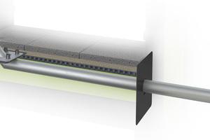 """Die """"SitaAttika""""-Kaskade bei geringen Höhen in der Nutzschicht: eine normkonforme Kaskadenentwässerung, ausgestattet mit angeschweißtem Schraubflansch zum sicheren Anschluss der Dachbahn und Bögen."""