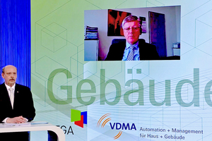 Moderator Dipl.-Ing. (FH) Clemens Schickel (BTGA) im Gespräch mit Dipl.-Ing. Christian Fraedrich (r.)