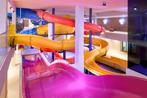 ... Indoor-Wasserrutschen-Park Österreichs im Hotelbereich verfügt. Die Installationstechnik unterliegt in der Umgebung von Chlordämpfen besonderen Vorschriften.