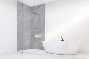 """Mit """"Vipanel"""" lassen sich Wände im Bad ohne aufwendige Arbeiten sicher und schnell verkleiden."""