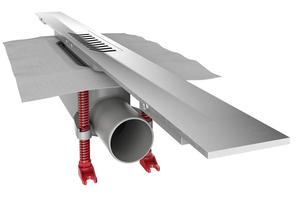 """""""ACO ShowerDrain S+"""" ist ein modularer Duschrinnen-Baukasten, bestehend aus einem werkseitig vormontierten Rohbauset und einem bauseitig kürzbaren Duschrinnenprofil."""