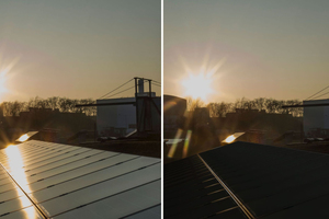 Solarmodule ohne (links) und mit (rechts; visualisiert) Phytonics-Folie. Die Folie unterdrückt die Reflexion für alle Wellenlängen und Einfallswinkel des Lichts fast komplett.