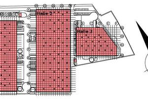 Zwei Drittel der Halle 1 sollen für die Lagerung von Gefahrgut genutzt werden. Hier sind die Deckenstrahlplatten für die Wärmeverteilung installiert.