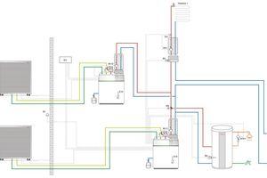 """Mit der Kaskadenregelung können bis zu fünf Luft-/Wasser-Wärmepumpen """"Biblock"""" oder Split-Wärmepumpen parallel geschaltet und kombiniert werden."""