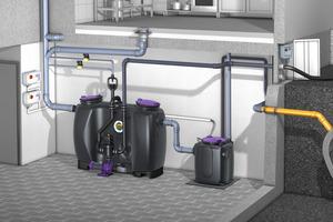 """Die """"Aqualift S 100/200 Duo"""" eignet sich ideal für den Einsatz in Kombination hinter Fettabscheidern. Mit zwei Pumpen ist sichergestellt, dass der Entwässerungsbetrieb nie unterbrochen wird."""