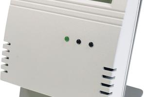 Optional ist ein Display in die CO<sub>2</sub>-Ampel integriert, das zusätzlich über Temperatur und Luftfeuchtigkeit im RaumAuskunft gibt.