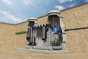 Die integrierte Pumpstation mit kombinierter Probenahmemöglichkeit dient zum Sammeln und automatischen Heben vom Abwasser über die Rückstauebene – und somit auch zum Rückstauschutz.