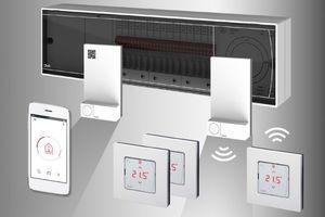 """Das Danfoss-""""Icon""""-System zur Fußbodenheizungssteuerung mit Hauptregler, Repeatern und Touchdisplay-Raumthermostaten im Lichtschalterdesign. Die Bedienung ist auch via Smartphone-App möglich."""