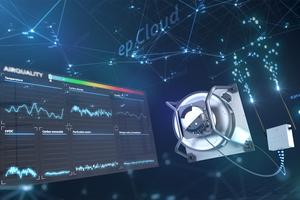 """Der """"Reset""""-zertifizierte Ventilator überträgt mithilfe von Sensoren und Gateway Daten an die ebm-papst-""""Building Connect""""-Plattform."""
