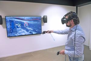 """""""Echte"""" VR-Präsentationen werden in Echtzeit von leistungsfähigen PCs berechnet und auf per Datenkabel angeschlossenen VR-Brillen angezeigt."""