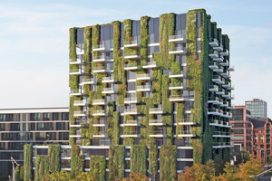 """Schüco ist aktuell dabei, integrierte Lösungen für die Bepflanzung und Bewässerung an einigen Objekten zu testen. Auch auf dem Schüco-Campus in Bielefeld wird in Zukunft eine """"Grüne Fassade"""" gezeigt."""