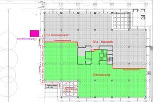 Die Komplettsanierung fand im laufenden Betrieb statt, daher wurde jede Etage in zwei Bauabschnitte unterteilt.