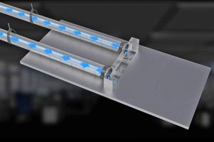 """Das Akustiksegel """"Indusail Air"""" sorgt für die Luftzufuhr und dient zur Erhöhung der Zuluftmenge sowie zur Verbesserung der Raumakustik."""