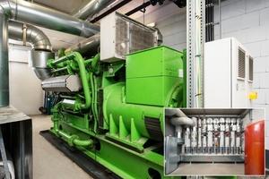 Das BHKW versorgt den Fertigungsbereich und das Kundencenter in Kleinkötz. Das eingeklinkte Bild zeigt die Verteilung in die einzelnen Hallen und Gebäude.