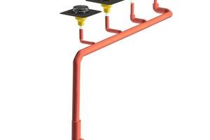 L-Strang: Lange Leitung – höherer Druckverlust.<br /> Da der Fließweg hier lang ist, müssen die Rohrdurchmesser erhöht werden<br />