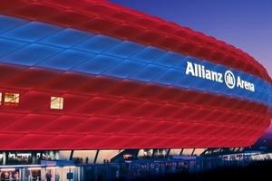Designstudie zur kommenden LED-Beleuchtung der Allianz Arena in München.