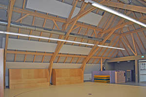 Der Mehrzweckraum der Lindenschule Gronau ist mit Heiz-/Kühlelementen ausgestattet, die entsprechend der Dachneigung installiert wurden.