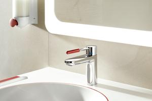 """System-Armatur """"AQ 800 K""""-Einhebel-Waschtischmischer mit Griffelement aus rubinrotem Polyamid<br />"""