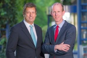 Dietmar Bückemeyer und Dr. Dirk Waider (v.l.n.r.) nach ihrer Wahl zum DVGW-Präsidenten bzw. DVGW-Vizepräsidenten Wasser am 2. Juli 2014 in Bonn.   (Foto: DVGW/Fotoagentur Bildschön)