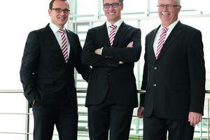 Die Dehn-Geschäftsführer (v.l.n.r.) Dipl.-Ing. (FH) Helmut Pusch, Dr. rer. pol. Philipp Dehn, Dr.-Ing. Peter Zahlmann