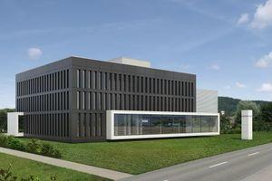 Die neue Niederlassung von Stiebel Eltron in der Schweiz in einer Renderingansicht der Architekten