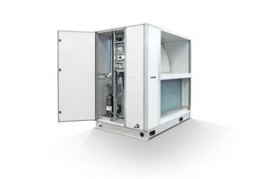 """Die in acht verschiedenen Leistungsgrößen angebotenen kompakten """"ReCooler HP""""-Module bestehen stets aus einer umschaltbaren hocheffizienten Wärmepumpe/Kältemaschine und einem Rotor mit sorptiver """"Semco""""-Beschichtung zur Energierückgewinnung."""