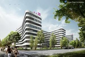 Caverion wurde mit der TGA in einem Bürokomplex am Überseering 2 in Hamburg beauftragt. (Bild: KSP Jürgen Engel Architekten)