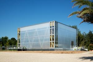 """Außenansicht von """"Cubity"""", das auf dem Campus Lichtwiese&nbsp;in Darmstadt als """"Living Lab"""" sowohl unter energetischen wie sozialen Aspekten erprobt werden soll.<br />"""